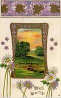 CPA Gaufrée Rehaussée Or - Paysage- Art Nouveau  (48795) - Phantasie