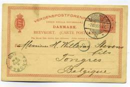Entier De KJOBENHAVN DANMARK / 7 Oct 1895 / Pour Tongres En BELGIQUE / VERDENSPOSTFORENINCEN - BREVKORT - 1864-04 (Christian IX)