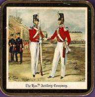 4 VINTAGE BEER MATS:COASTERS:ARMY+S OLDIERS-T HE ARTILLERY COMPANY;THE GRENADIER GUARDS;ROYAL ARTILLERY;1st. LIFE-GUARDS - Beer Mats