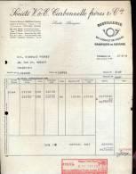 Factuur - V &  E Carbonelle Freres - Distillerie Du Cornet De Poste - Tournai 1960 - Otros