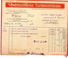 ORLEANS  FACTURE METIER  QUINCAILLER MACON BATIMENT ENTREPRISE CROISSANDEAU JUIN 1931 - Transports