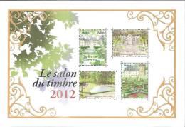 """BLOC N° 132 """"Le Salon Du Timbre 2012"""". Jardins Et Domaines De France Doré à L´or Fin LUXE Faible Tirage - Neufs"""