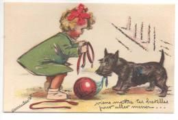 Germaine BOURET - CPA - DÉCOUPIS - PAILLETTES - RUBANS -Viens Mettre Tes Bretelles Pour Aller Mener ... - Bouret, Germaine
