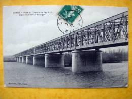 Cpa 58 COSNE Pont Du Chemin De Fer PO Ligne Cosne A Bourges - Cosne Cours Sur Loire
