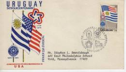 URUGUAY  SESQUICENTENARIO  CONMEMORACION 200 AÑOS INDEPENDENCIA DE U.S.A.     SOBRE FDC  URUGUAY   OHL