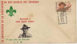 HOMENAJE A LORD BADEN POWEL 20 ANIVERSARIO DE LA ASOCIACION DE BOY-SCOUTS  SOBRE FDC  URUGUAY   OHL - Scoutisme