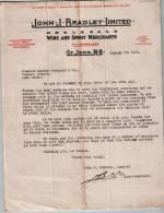"Entête  07/08/1921  -  St  JOHN , N.B.  ( Canada )  -  JOHN. J. BRADLEY  -  Agents Canadiens Pour La  ""ROYAL  ARMS "" - Canada"