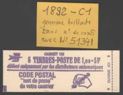 Carnet N° 1892-C1 Neuf ** Gomme D'Origine Sans N° De Conf. Et N° 51341 TTB - Carnets