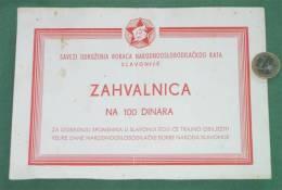 YUGOSLAVIA In WW 2 - SUBNOR ( Union Of Partisan Veterans ) Plaque Appreciation * JNA Army Yougoslavie Partizan Partisans - Documents