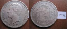 España, 5 Pesetas De Plata 1871 18-74 DEM Amadeo I , 1º , Duro - Monedas
