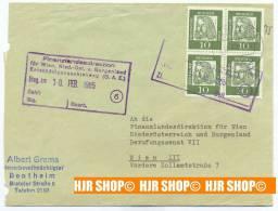 1961, MiNr. 350x, 4er Herzstück, Gest. Bentheim 12.2.1965 - Bentheim