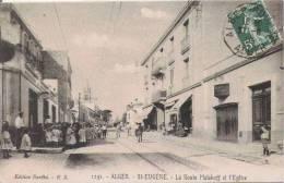 ST EUGENE ALGER 1251 LA ROUTE MALAKOFF ET L'EGLISE (ANIMATION) - Alger