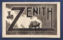 Pub Papier 1923 Accessoire Automobile Carburateur ZENITH Lyon Automobiles - Advertising