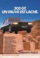 Publicité : 305 GT. Un Fauve Est Laché. PEUGEOT Sort Ses Griffes. 1983 - Publicités