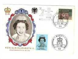 CPA : Munich - Allemagne  : Visite De La Reine Elizabeth 2 Le 18/05/65 : Timbre 1er Jour - Evénements