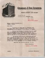 Entête  14/10/1924  -  TORONTO  ( Canada )  -  Georges  J.  FOY -  Vins, Spiritueux Et Cigares ( En Anglais ) - Canada