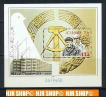 1989, MiNr. BL. 100**, MiNr. 3289-3294 Kleinbogen** - [6] Oost-Duitsland