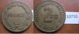 Francia 2 Francos 1944 Filadelfia USA , Para Francia Sur , Aliada Y Colonias Norteafricanas , Norte Africa - Monedas