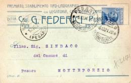 CARTOLINA POSTALE PUBBLICITARIA  COMMERCIALE--PREMIATO STABILIMENTO TIPO-LITOGRAFICO-DITTA FEDERICI-PESARO-6-10-1921-REG - 1900-44 Victor Emmanuel III