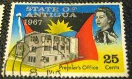 Antigua 1967 State Flag And Premier's Office 25c - Used - 1960-1981 Autonomie Interne