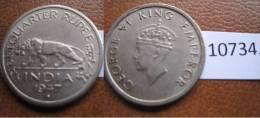 India Britanica , 1/4 Rupia 1947 B - Monedas