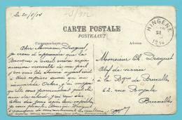 Kaart Met Stempel HINGENE Op 21/08/1914 (Offensief W.O.I) - Unbesetzte Zone
