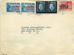 1947?   Lettre Avion Pour Les USA Paysages 2000 Dr Sur 5000dr, 100dr Sur 10dr Et Deuil Roi Constantin 600 Sur 8 Dr - Greece