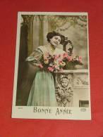 """Fantaisies - Jeune Femme  Au Panier De Fleurs - """" Bonne Année """" -  1913 - Femmes"""
