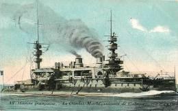 Le CHARLES MARTEL - Cuirassé 1ère Classe - Carte Colorisée - 2 Scans - Warships