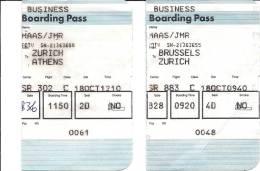 2 Boarding Pass - 2 Cartes D´embarquement - Swissair - Bruxelles Zurich Athens - Instapkaart