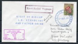 1977 Tristan Da Cunha South Africa Last Relief Voyage Ship Paquebot Navire Cover - Tristan Da Cunha