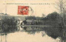deux sevres -ref A136- argenton chateau - l argenton et le moulin du bas bourg - theme moulins -carte bon etat  -