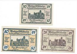 1920 KWIDZYN / MARIENWERDER  THREE VALUES   LOCAL  BANKNOTES. - Poland