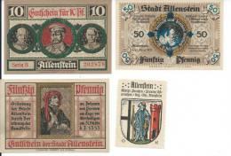 1920 PLEBISCITE OLSZTYN / ALLENSTAIN LOCAL FOUR VALUES  BANKNOTES. - Poland