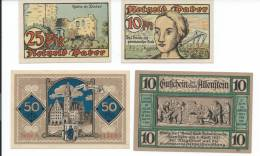 1920 PLEBISCITE OLSZTYN / ALLENSTAIN /STTETIN  LOCAL FOUR VALUES  BANKNOTES. - Poland