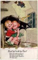 Mauzan Illustrateur Enfants Amoureux  Parapluie 1940  état Superbe - Mauzan, L.A.