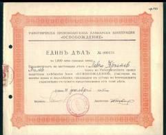 6K164 Share Action Aktie 1000 Lv. SOFIA 1945 Bread COOPERATION Liberation REVENUE Bulgaria Bulgarie Bulgarien Bulgarije - Industrie