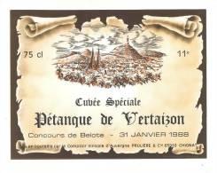 Etiquettes De Vin De Table  -  Cubvée Spéciale Concours De Belote De Vertaizon (63) Le 31/01/88 - Thème Cartes à Jouer - Playing-cards