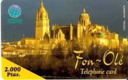 TARJETA DE ESPAÑA DE FON-OLE DE LA CATEDRAL DE SALAMANCA DE 2000 PTAS (PARTE TRASERA BLANCA) - Spagna