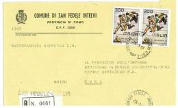 SAN FEDELE INTELVI  22028  PROV. COMO  - ANNO 1981 -  R  - STORIA POSTALE DEI COMUNI D´ITALIA - POSTAL HISTORY - Affrancature Meccaniche Rosse (EMA)
