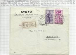 Lettera Raccomandata Spedita Da Milano Il 16-4-54 Per Bergamo - Stock Ufficio Di Milano - 1946-.. République