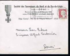 Enveloppe Avec En Tête: *SOCIETE DES SAUVETAGE DU NORD ET DU PAS-DE-CALAIS - LILLE* 1964* - Marcophilie (Lettres)