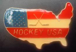 PIN´S - Hockey Sur Glace USA - RARE - Pim´s Pins Pims - Zonder Classificatie