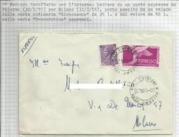 Lettera Espresso Spedita Da Palermo Il 30-1-56 Per Milano - 1946-.. République
