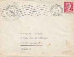 La Roche-sur-Yon (Vendée, 85) 1955, Flamme R.B.V. Ondulée - Marcophilie (Lettres)