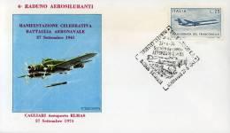 ELMAS CAGLIARI RICORDO BATTAGLIA AERONAVALE DEL 1941 1974 FDC COMITATO RADUNO - Airplanes