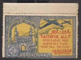 India Hyderabad State 1 Anna Colored  FAITHFULLY ALLY Urdu War Fund Label MINT RARE Inde Indien - Hyderabad