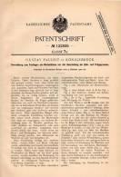 Original Patentschrift - Gustav Pauleit In Königsbrück I. S. , 1900 , Apparat Für Zieh- Und Prägepresse !!! - Historische Dokumente