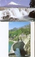 LOTE DE 2 TARJETAS DE JAPON DE UNA CASCADA (CASCADA-WATERFALL) (no Estan Perfectas) - Paisajes