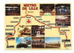 Cp, Métro, Le Métro De Lille (59), Multi-Vues, Voyagée - Métro
